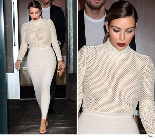 Kim Kardashian Wears See Through Mesh Top In New York!